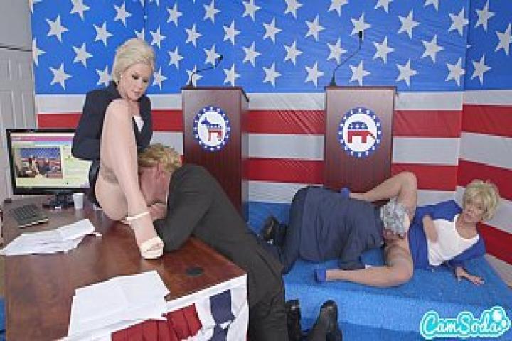 Дональд Трамп и Хиллари Клинтон трахаются с Берни Сандерс и Меган Келли в президиуме во время дебатов